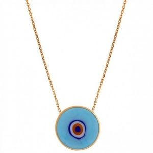 Jewelry - EVIL EYE BLUE YELLOW GOLD NECKLACE